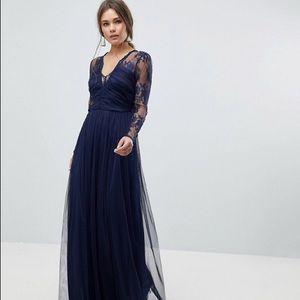 ASOS Navy Lace & Tulle LS Maxi Dress 6 EUC!